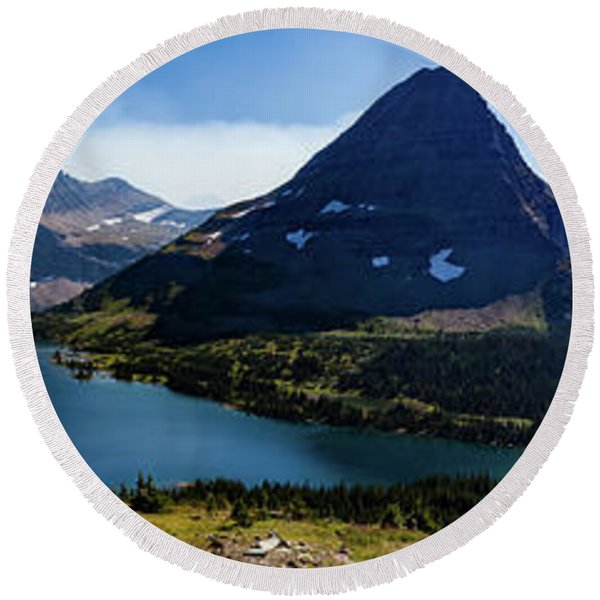 Round Beach Towel featuring the photograph Hidden Lake Panorama At Glacier National Park by Lon Dittrick