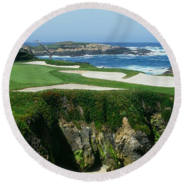 High Angle View Of A Golf Course Round Beach Towel