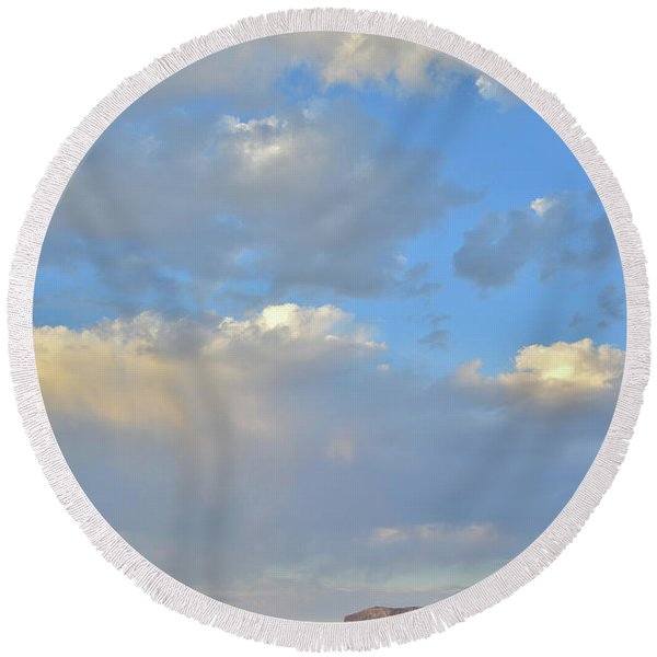 High Clouds Over Caineville Wash Round Beach Towel