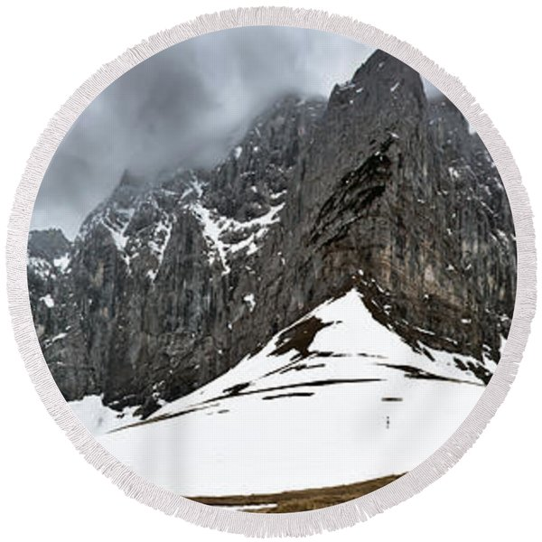 Hiking In The Alps Round Beach Towel