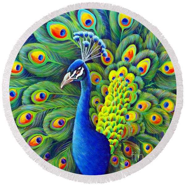 Round Beach Towel featuring the painting His Splendor by Nancy Cupp