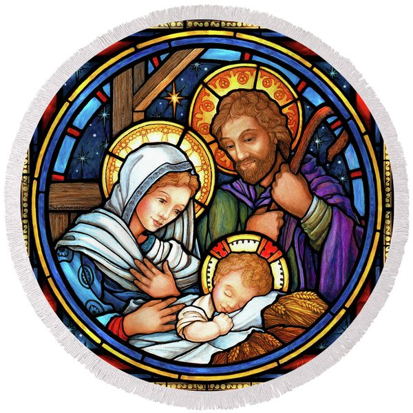 Holy Family Stained Glass Round Beach Towel