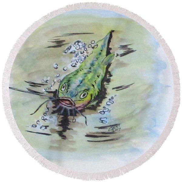 Hooked Catfish Round Beach Towel