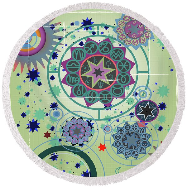 Round Beach Towel featuring the drawing Horoscope  University by Ariadna De Raadt