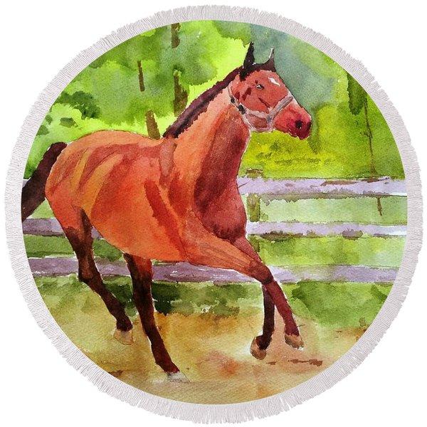 Horse #3 Round Beach Towel