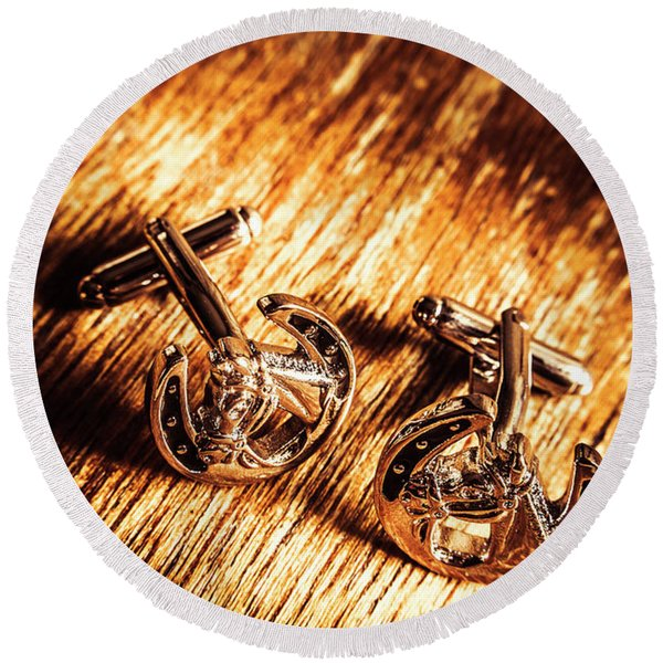 Horse Racing Cuff Links Round Beach Towel