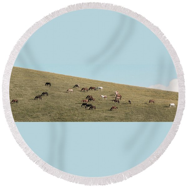 Horses On The Hill Round Beach Towel