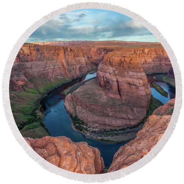Round Beach Towel featuring the photograph Horseshoe Bend Morning Splendor by Lon Dittrick