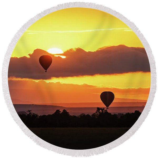Hot Air Balloons In Surise Orange Africa Sky Round Beach Towel