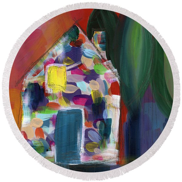 House Of Many Colors- Art By Linda Woods Round Beach Towel