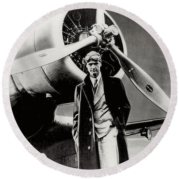 Howard Hughes - American Aviator  Round Beach Towel