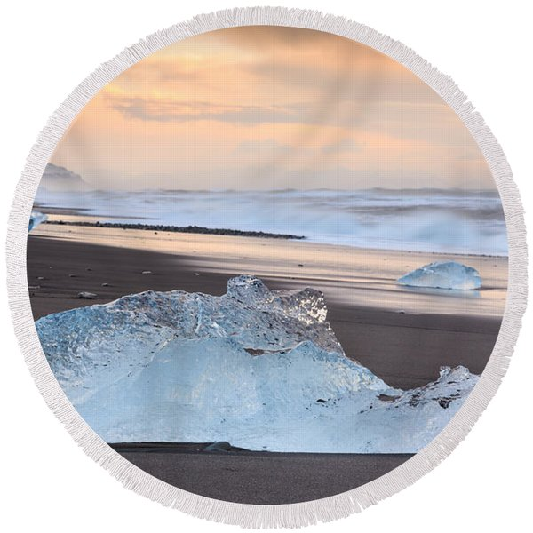 Ice Beach Round Beach Towel
