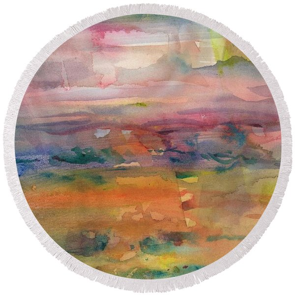 Round Beach Towel featuring the painting Illusional Landscape by Carolyn Utigard Thomas