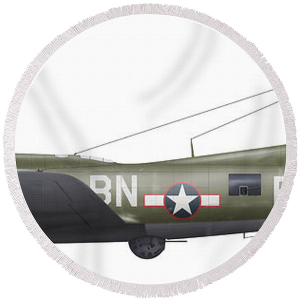 Illustration Of A Boeing B-17f Knockout Round Beach Towel