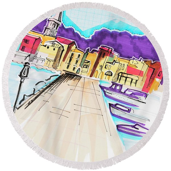 Round Beach Towel featuring the drawing illustration of travel, Italy by Ariadna De Raadt