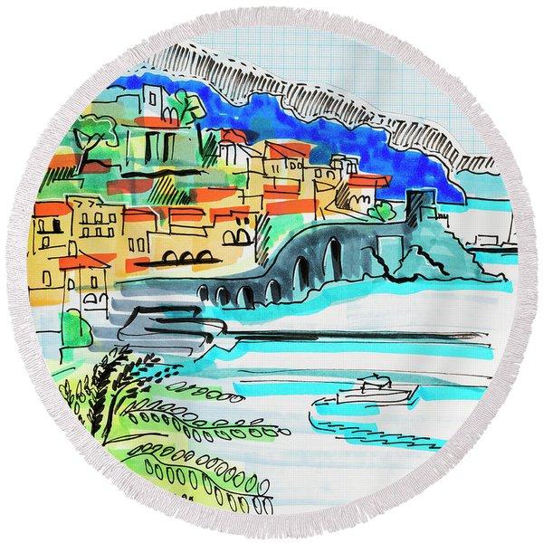 illustration of travel, Spain Round Beach Towel