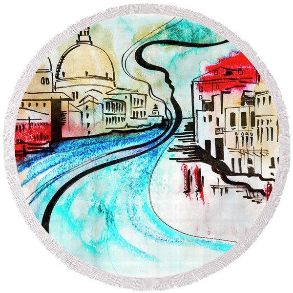 illustration of travel, Venice Round Beach Towel