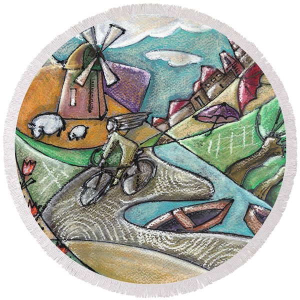 illustration of typical Holland landscape  Round Beach Towel