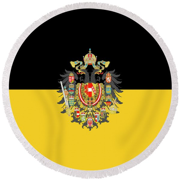 Habsburg Flag With Imperial Coat Of Arms 1 Round Beach Towel
