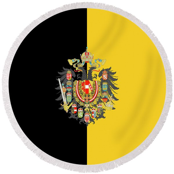 Habsburg Flag With Imperial Coat Of Arms 2 Round Beach Towel