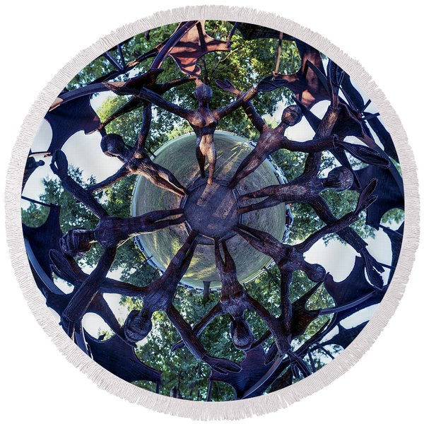 In The Center Of Seven Under Birds #1 - Tiny Planet Round Beach Towel