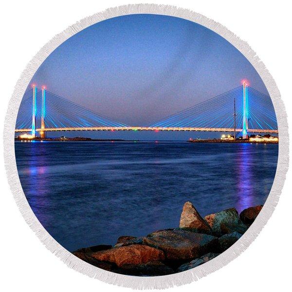 Indian River Inlet Bridge Twilight Round Beach Towel