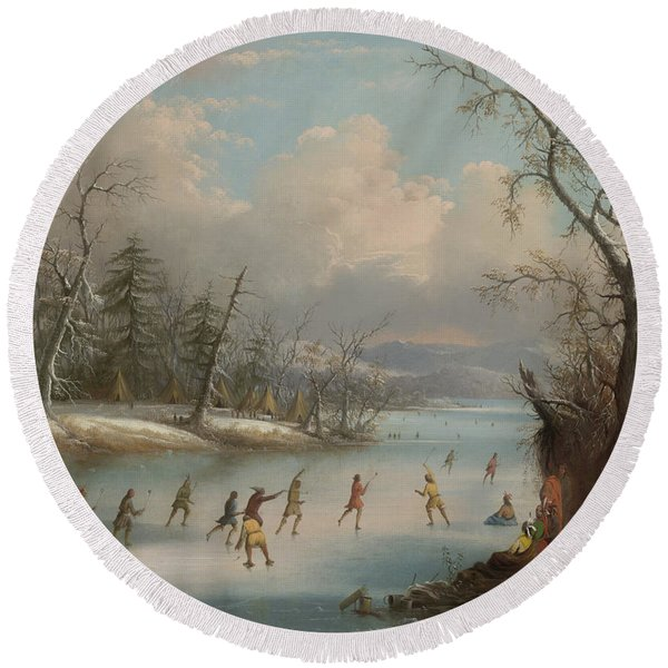 Indians Playing Lacrosse On The Ice, 1859 Round Beach Towel