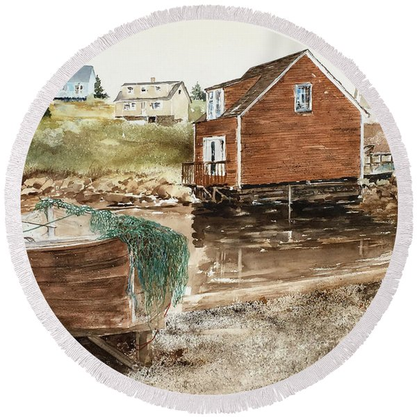 Inlet At Peggy's Cove Round Beach Towel