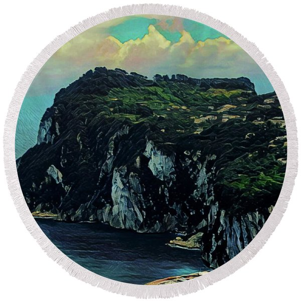 Isle Of Capri Italy Round Beach Towel