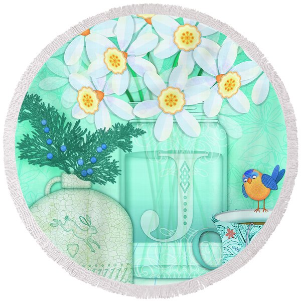 J Is For Jar Of Jonquils Round Beach Towel