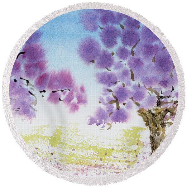 Jacaranda Trees Blooming In Buenos Aires, Argentina Round Beach Towel