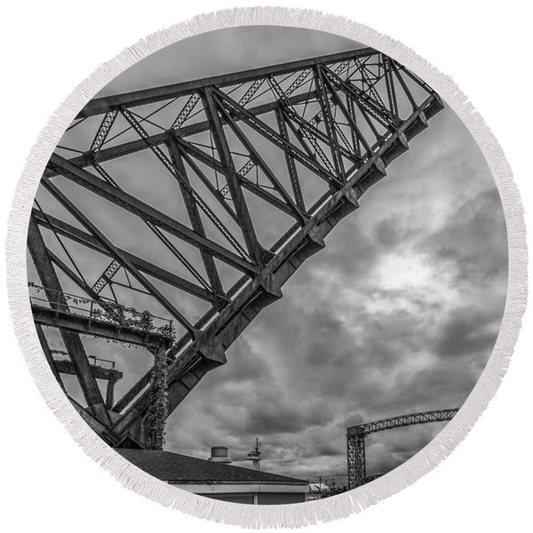Round Beach Towel featuring the photograph Jackknife Bridge To The Clouds B And W by Lon Dittrick