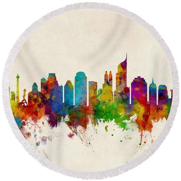Jakarta Skyline Indonesia Bombay Round Beach Towel