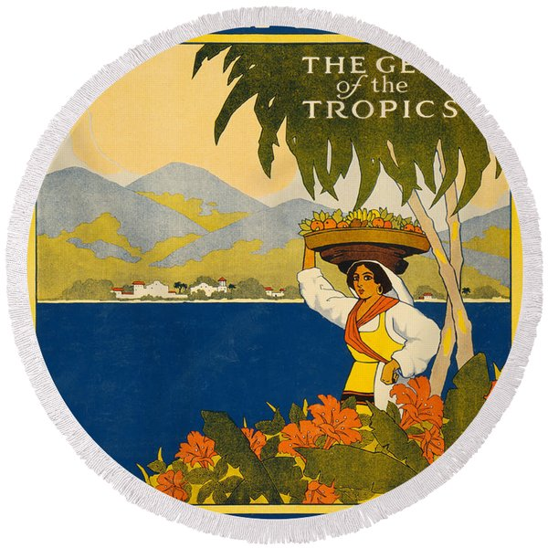 Jamaica  Vintage Travel Poster Round Beach Towel