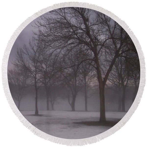 January Fog 4 Round Beach Towel