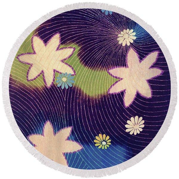 Japanese Maple Modern Interior Art Painting. Round Beach Towel