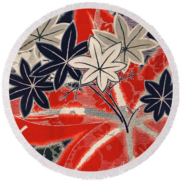 Japanese Style Maple Interior Art Painting. Round Beach Towel