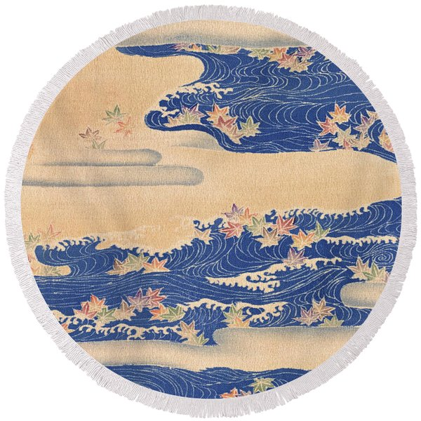 Japanese Style River And Cloud Modern Interior Art Painting. Round Beach Towel