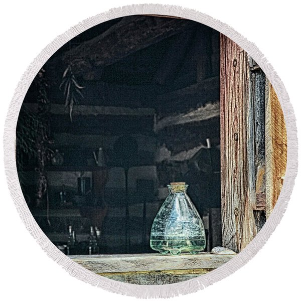 Jar In Window Round Beach Towel