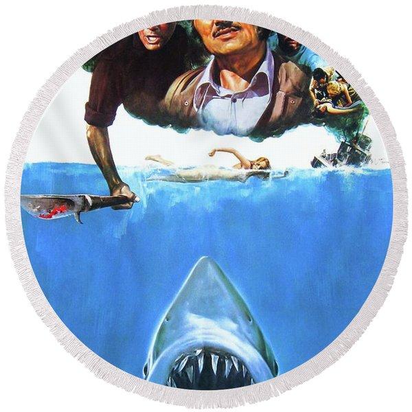 Jaws 1975  Round Beach Towel