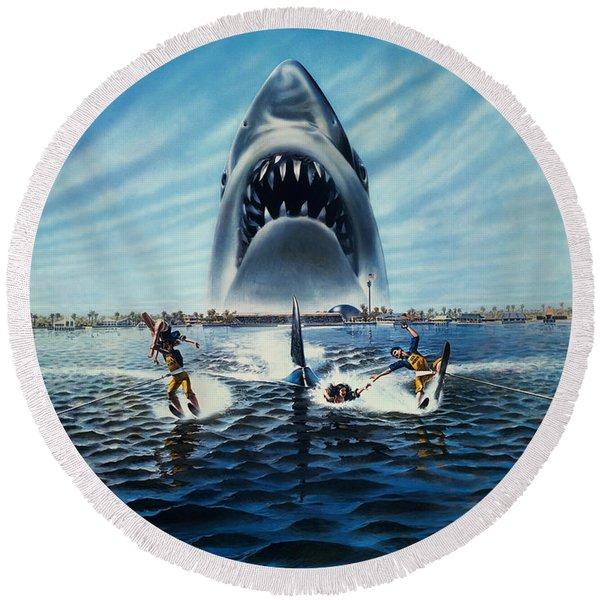 Jaws 3 1983 Round Beach Towel