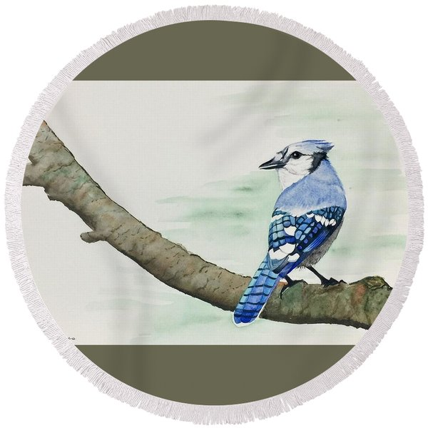 Jay In The Pine Round Beach Towel
