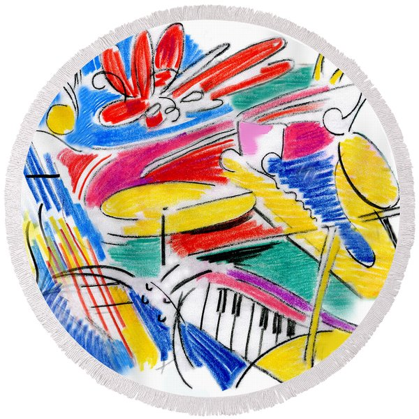 Jazz Art Round Beach Towel
