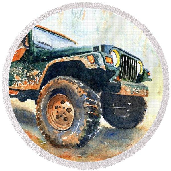 Jeep Wrangler Watercolor Round Beach Towel