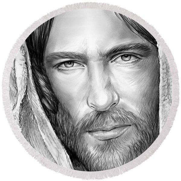 Jesus Face Round Beach Towel
