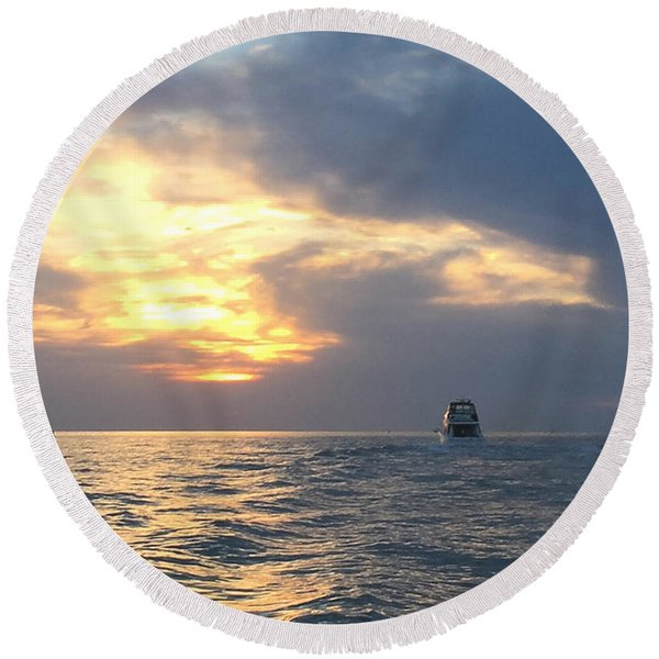 Watching Over The Inlet Round Beach Towel