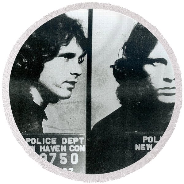 Jim Morrison Mug Shot Horizontal Round Beach Towel