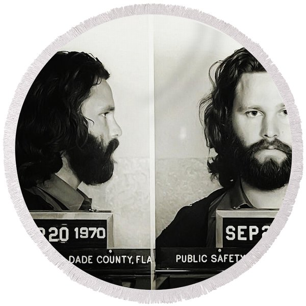 Round Beach Towel featuring the photograph Jim Morrison Mugshot by Digital Reproductions