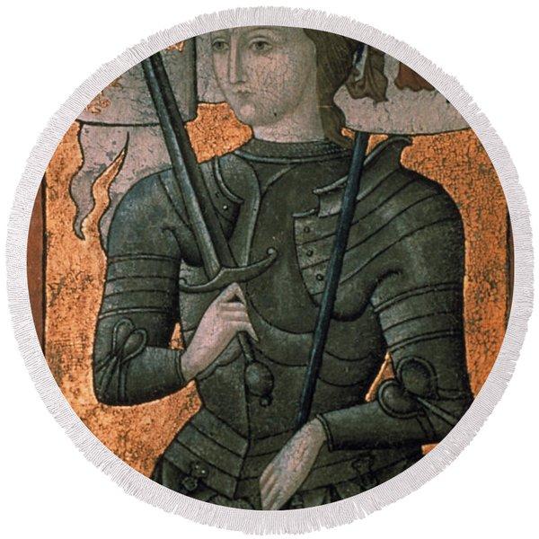 Joan Of Arc (c1412-1431) Round Beach Towel