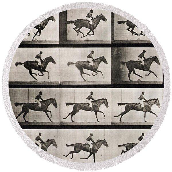 Jockey On A Galloping Horse Round Beach Towel